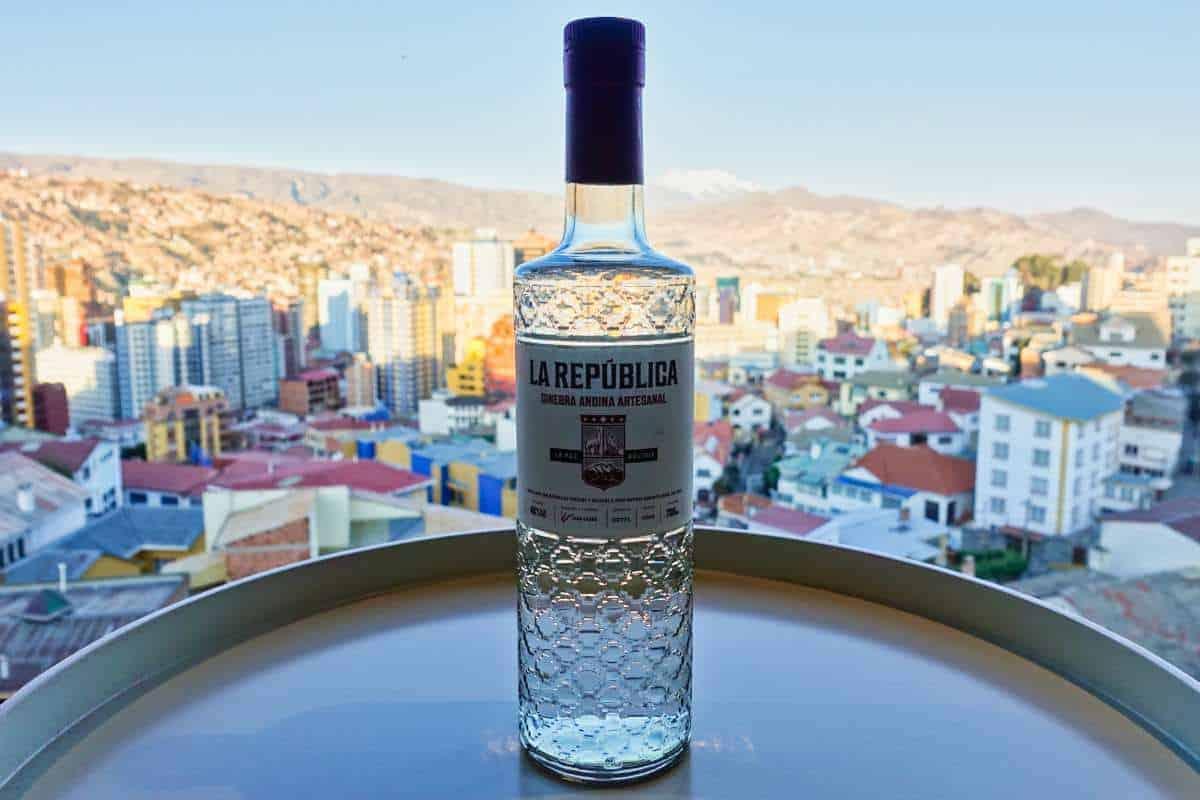 Eine Flasche des La Republica Andina Artesanal Gins