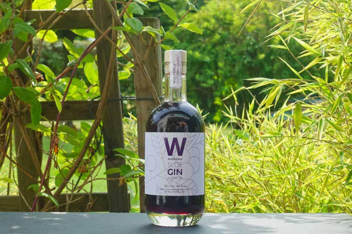 Eine Flasche des Wuestefeld Sloe Gin