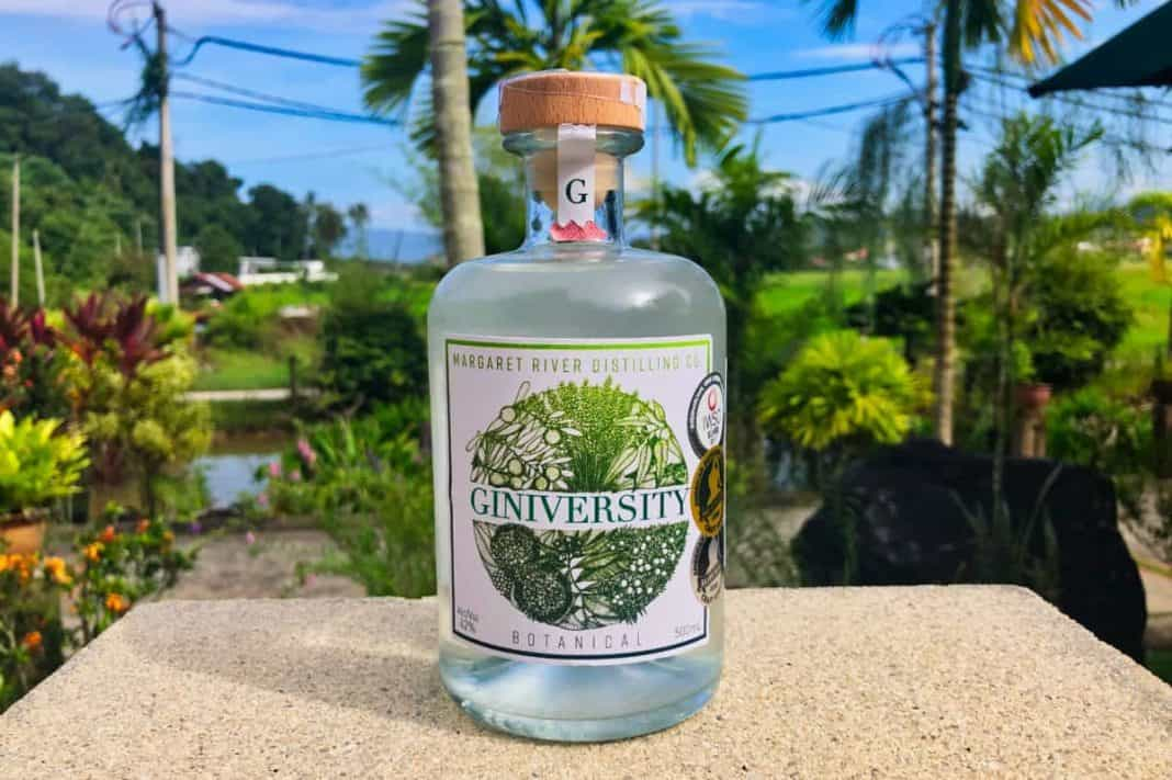 Eine Flasche des Giniversity Gins